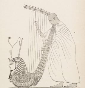 Tocador de arpa egipcio. Reproducción según pintura de la época. Fuente: Wikimedia Commons
